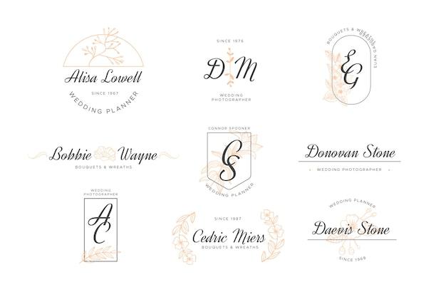 Paquete de logotipo de monograma de boda
