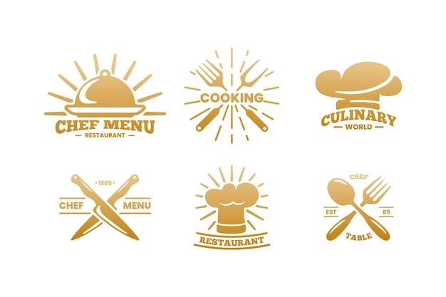 Paquete de logotipo de restaurante retro dorado