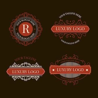 Paquete de logotipo retro de lujo