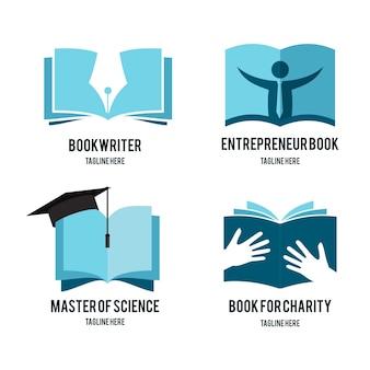 Paquete de logotipo de universo de libro plano