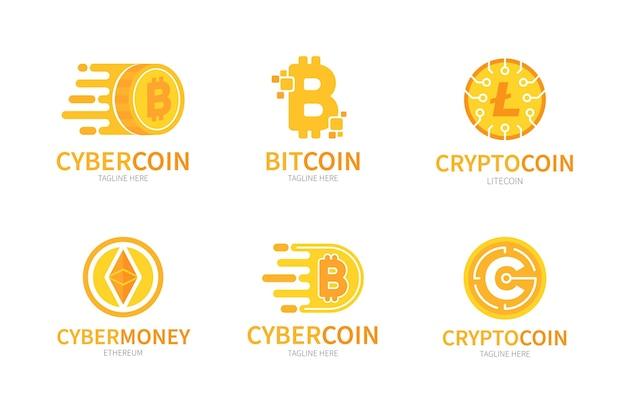 Paquete de logotipos de bitcoin de diseño plano