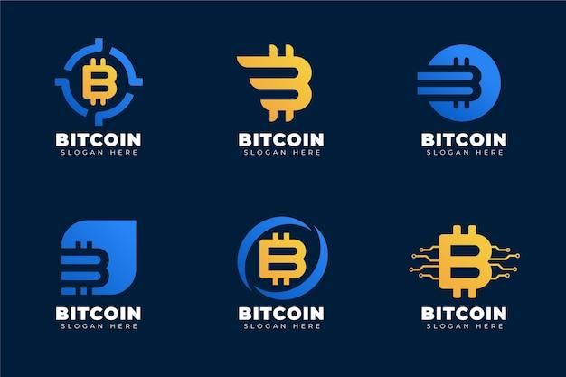 Paquete de logotipos degradados de bitcoin