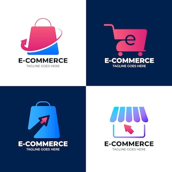 Paquete de logotipos degradados de comercio electrónico