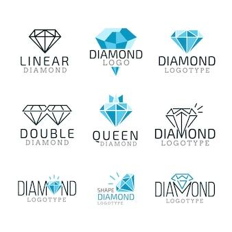 Paquete de logotipos de diamantes lineales