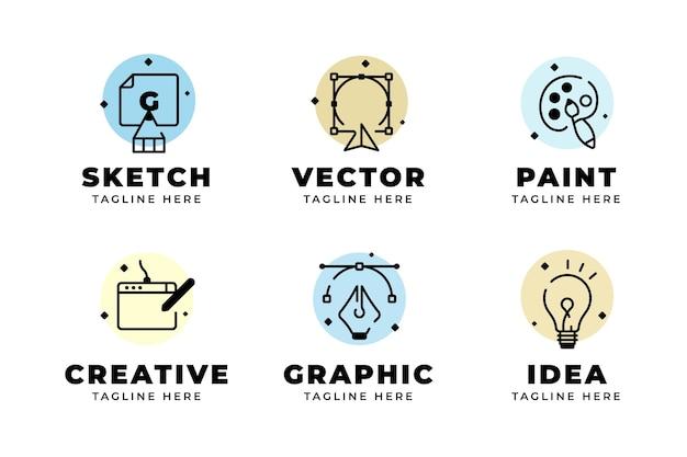 Paquete de logotipos de diseño gráfico plano moderno