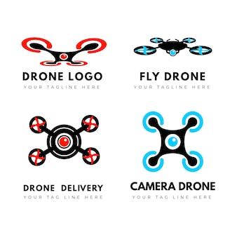 Paquete de logotipos de drones de diseño plano