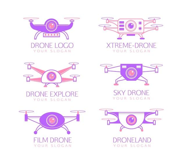 Paquete de logotipos de drones planos