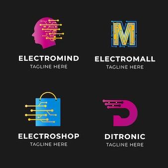 Paquete de logotipos de electrónica degradada