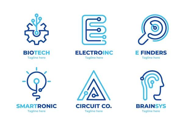 Paquete de logotipos de electrónica de diseño plano