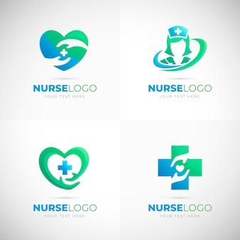 Paquete de logotipos de enfermeras gradiente
