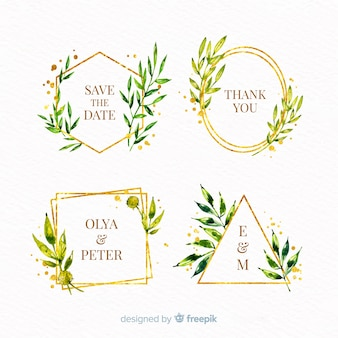 Paquete de logotipos de marco de boda de acuarela