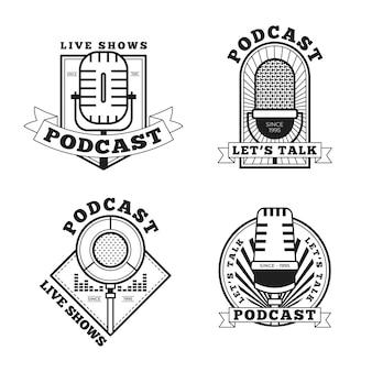 Paquete de logotipos de podcasts vintage