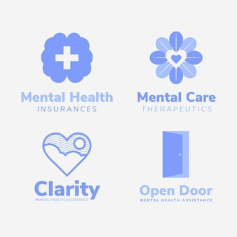 Paquete de logotipos de salud mental de diseño plano