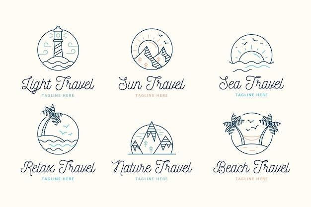 Paquete de logotipos de viaje minimalista creativo