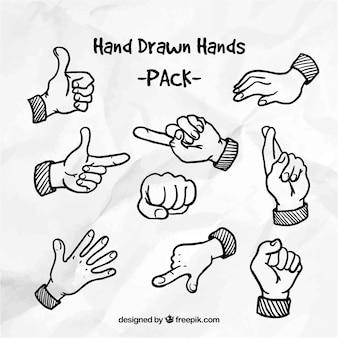 Paquete de manos dibujadas a mano