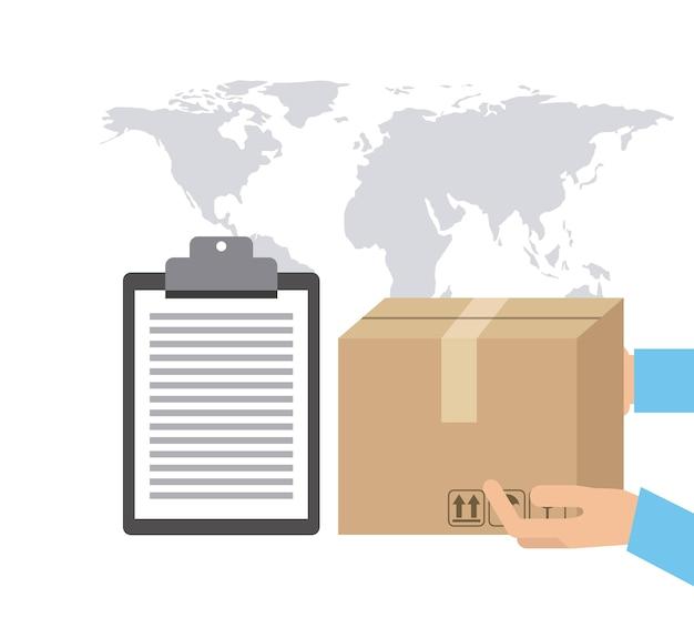 Paquete de mapas e icono de lista de verificación