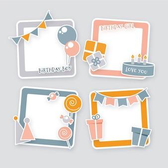 Paquete de marco de collage de cumpleaños dibujado a mano