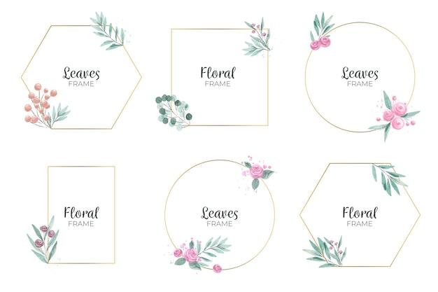 Paquete de marco floral acuarela