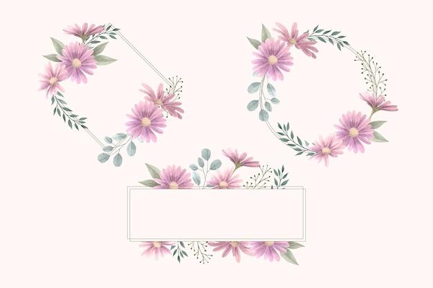 Paquete de marco floral de acuarela