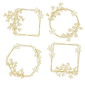 Paquete de marco floral dibujado a mano