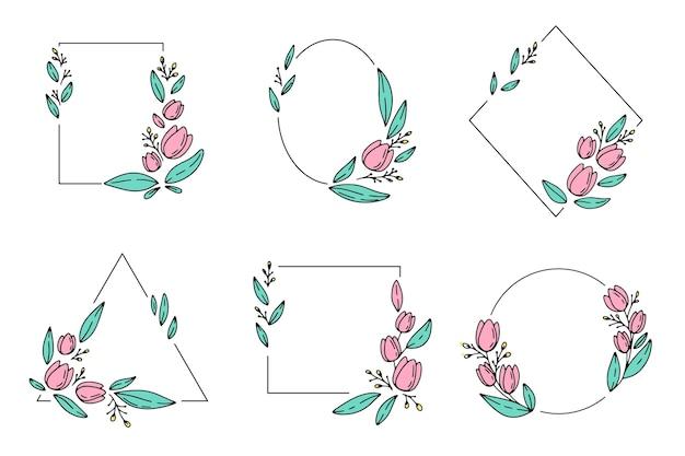Paquete de marco floral dibujado