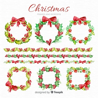 Paquete marcos y bordes navideños acuarela