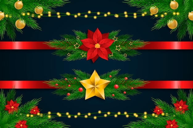 Paquete de marcos y bordes navideños realistas