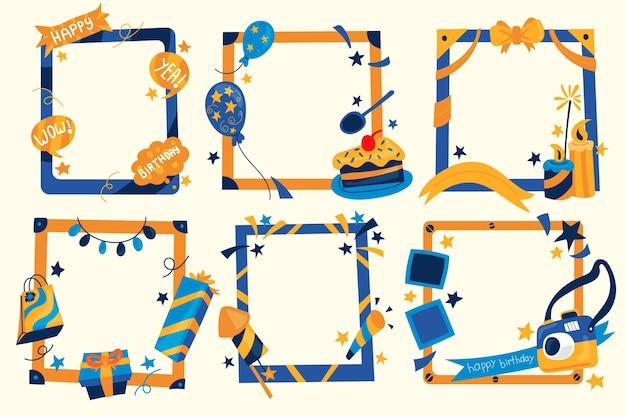 Paquete de marcos de collage de cumpleaños dibujados a mano