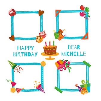 Paquete de marcos de collage de cumpleaños dibujados