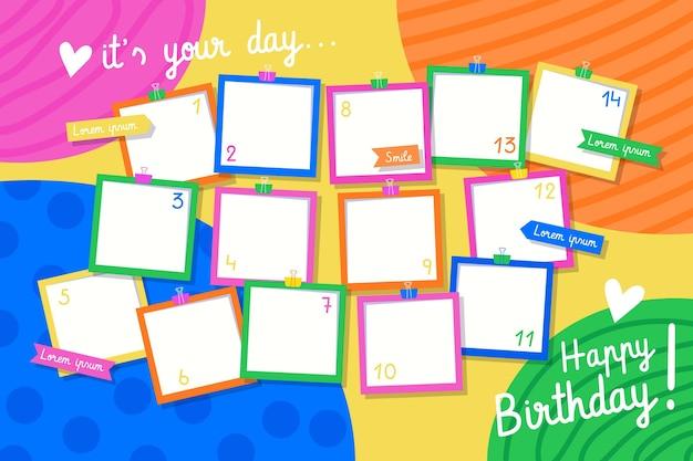 Paquete de marcos de collage de cumpleaños de diseño plano