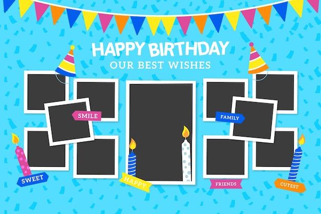 Paquete de marcos de collage de cumpleaños planos