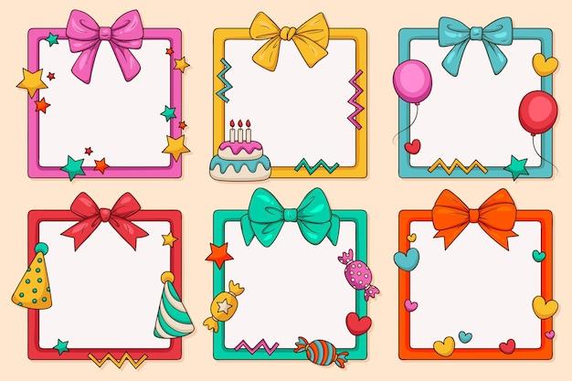 Paquete de marcos de collage de cumpleaños