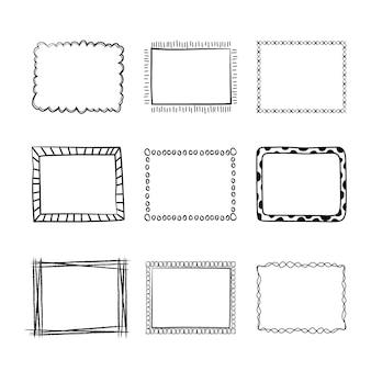Paquete de marcos de doodle de estilo dibujado a mano