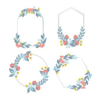 Paquete de marcos florales dibujados a mano