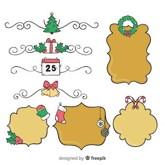 Paquete marcos de navidad dibujados a mano
