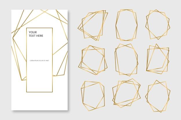 Paquete de marcos poligonales dorados