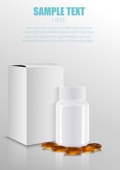 Paquete de medicamentos médicos en blanco paquete de papel caja con botella de plástico y pastillas