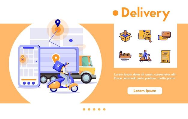 Paquete de mensajería de hombre de banner en motocicleta, paquetes en camión. comida de entrega rápida, compras, compras digitales. conjunto de iconos lineales de color - envío, ubicación de seguimiento