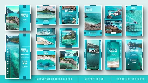 Paquete minimalista azul de historias de instagram y publicaciones posteriores al viaje