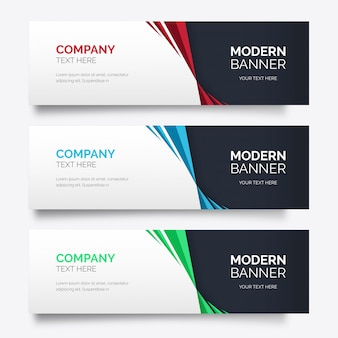 Paquete moderno de pancartas coloridas