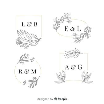 Paquete de monograma de boda ornamental