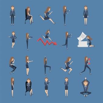 Paquete de mujeres empresarias con iconos