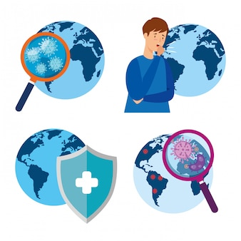 Paquete de mundos con iconos de conjunto de coronavirus 2019 ncov