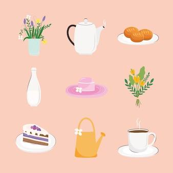 Paquete de nueve deliciosos iconos de desayuno set ilustración
