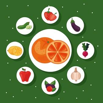 Paquete de nueve frutas y verduras frescas alimentos saludables establecer iconos, diseño de ilustraciones
