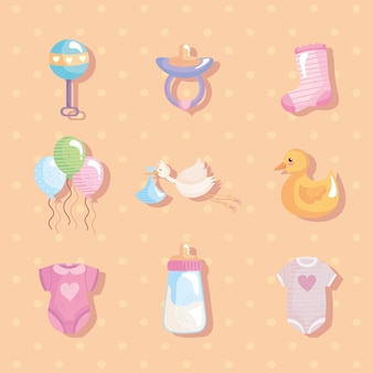 Paquete de nueve iconos de baby shower, diseño de ilustraciones vectoriales