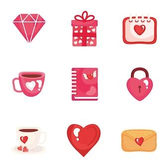 Paquete de nueve iconos de conjunto de día de san valentín ilustración