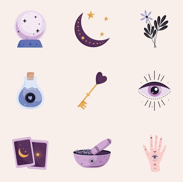 Paquete de nueve iconos de conjunto esotérico, diseño de ilustraciones