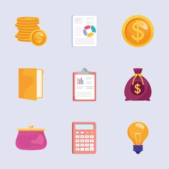 Paquete de nueve iconos de conjunto de gestión de ahorros ilustración