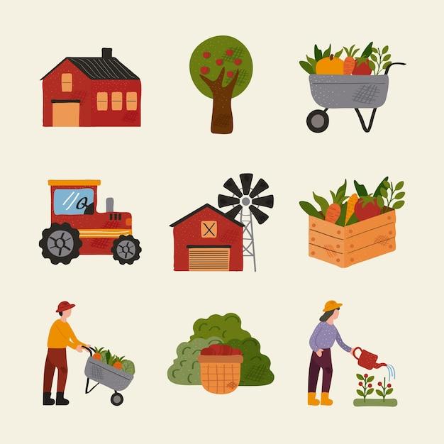 Paquete de nueve iconos de conjunto de granja y agricultura, diseño de ilustraciones vectoriales